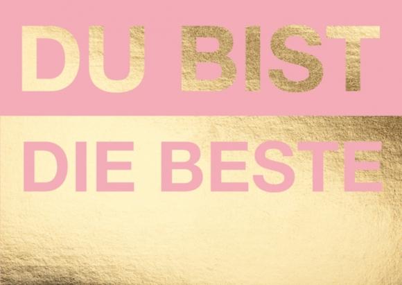 Postkarte: Du bist die Beste - rosa-gold