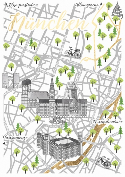 Postkarte: Straßenkarte München
