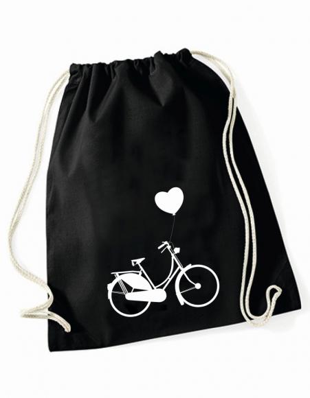 Turnbeutel Fahrrad mit Herz