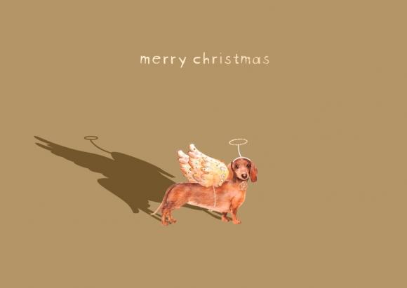 Doppelkarte: Dackel mit Flügeln - merry christmas