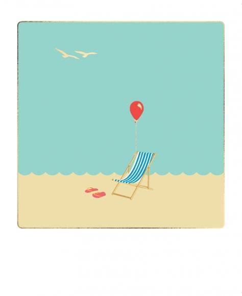 Postkarte: Liegestuhl, Meer und Luftballon