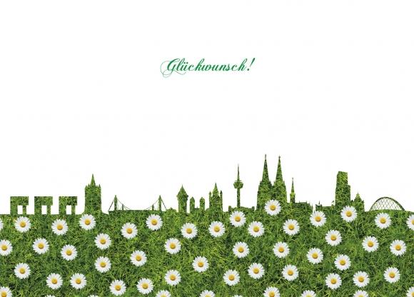 Doppelkarte: Glückwunsch (Blumen-Skyline)