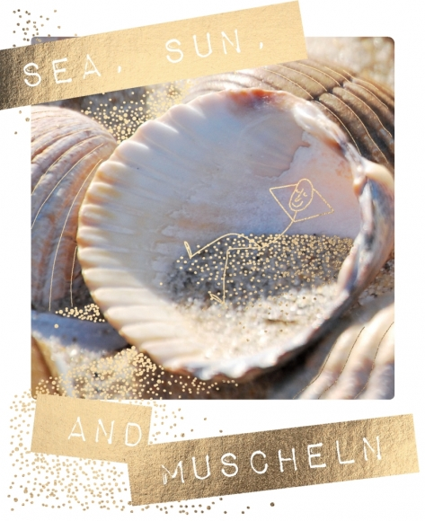 Postkarte: Sea, Sun and Muscheln