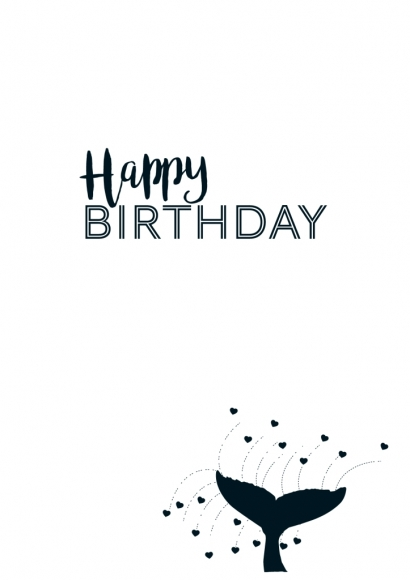Doppelkarte: Happy Birthday - Walflosse
