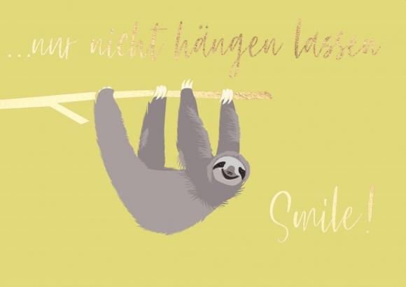 Postkarte: Faultier - nur nicht hängenlassen