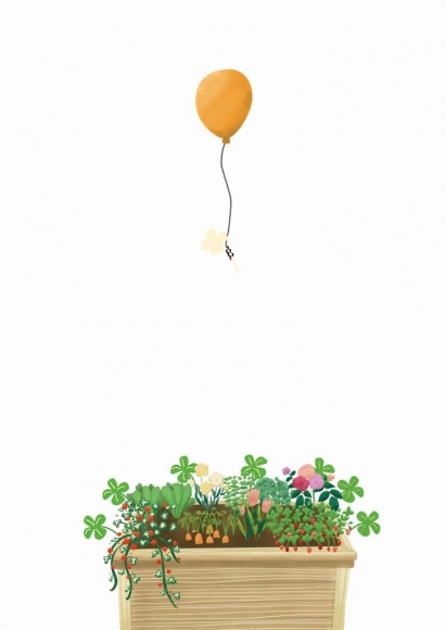 Doppelkarte: Hochbeet mit Kleeblatt und Luftballon