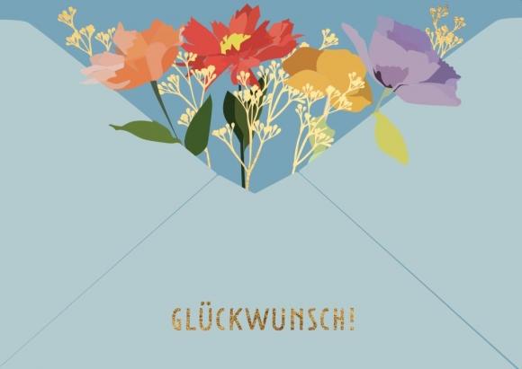 Doppelkarte: Glückwunsch! Umschlag-Blumen