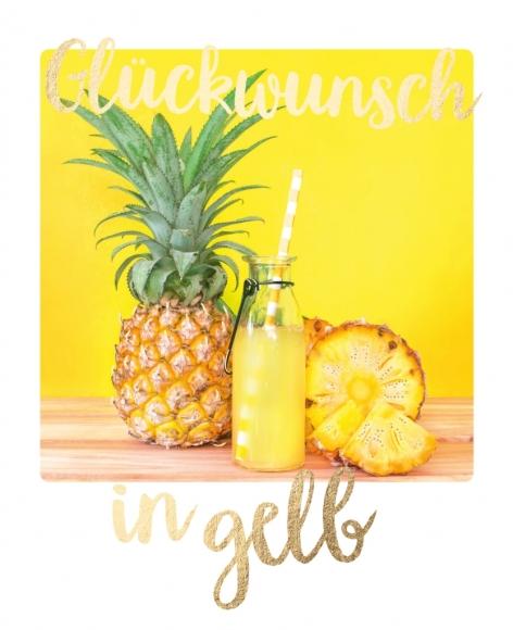 Postkarte: Glückwunsch in gelb