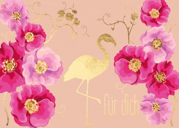 Postkarte: Flamingo - Für Dich
