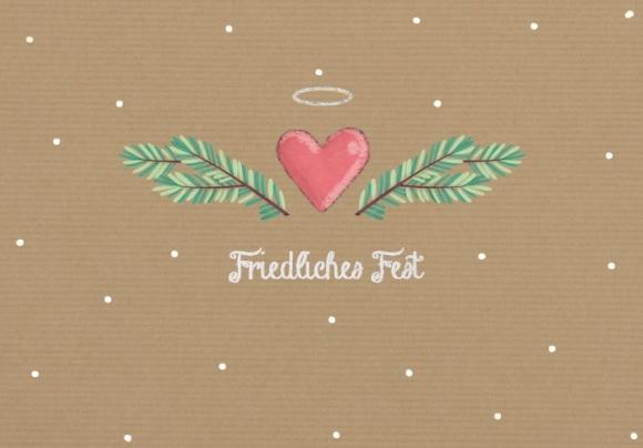 Doppelkarte: Friedliches Fest - Herz und Zweige