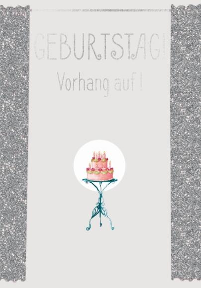 Postkarte: Geburtstag! Vorhang auf!