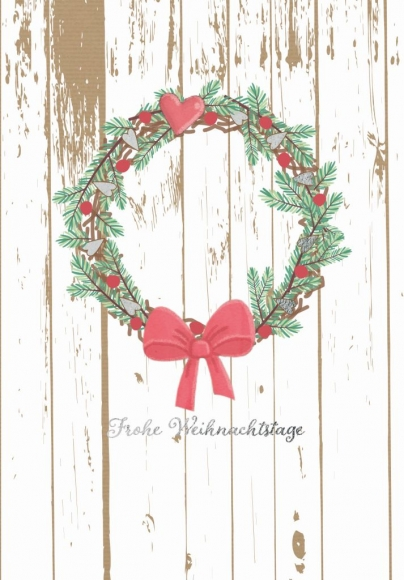 Doppelkarte: Frohe Weihnachtstage - Kranz