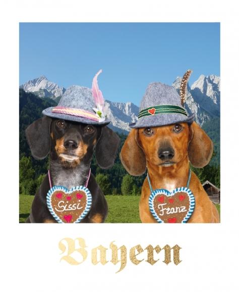 Postkarte: Bayern - Dackel Sissi und Franz