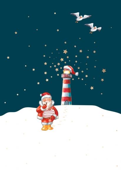 Postkarte: Weihnachtsmann u. Leuchtturm im Schnee