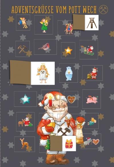 Adventskalender-Doppelkarte: Adventsgrüße vom Pott wech - Weihnachtsmann