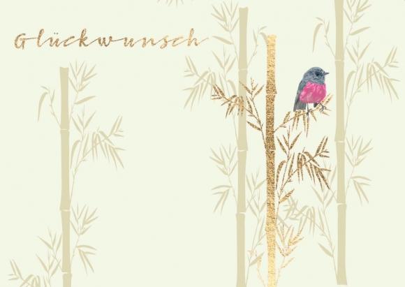 Doppelkarte: Glückwunsch - Bambus mit Vogel