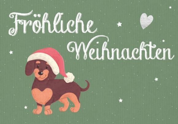 Doppelkarte: Fröhliche Weihnachten - Weihnachtsdackel