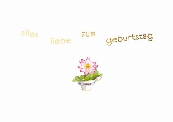 Doppelkarte: Alles Liebe zum Geburtstag - Tassenblume