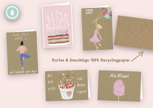lady in pink * Set 5 Doppelkarten mit Umschlägen