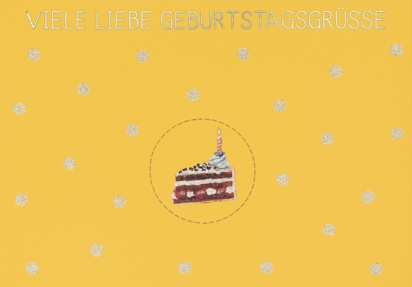 Postkarte: Viele liebe Geburtstagsgrüße - Tortenstück
