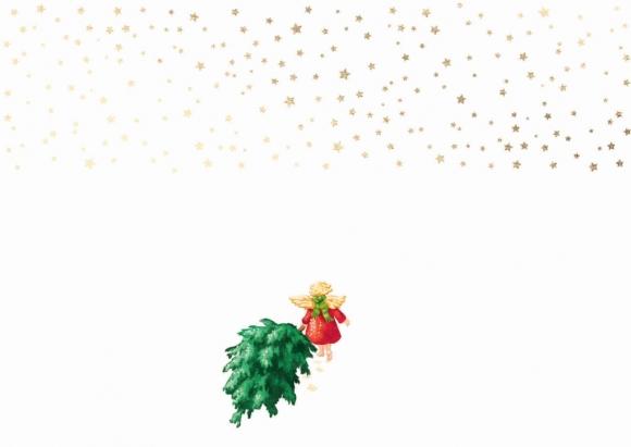 Postkarte: Engel zieht Weihnachtsbaum