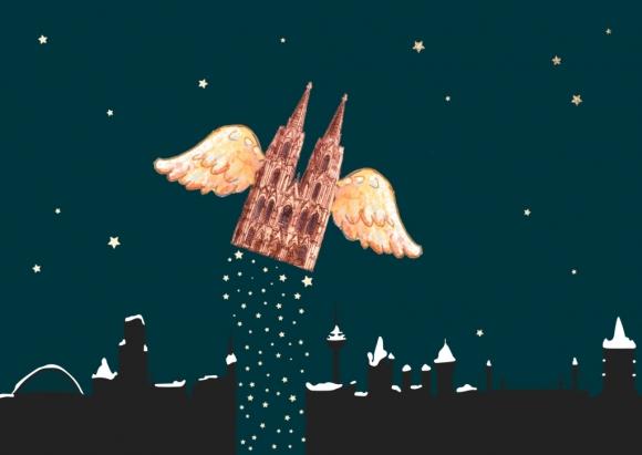 Doppelkarte: Dom mit Flügeln