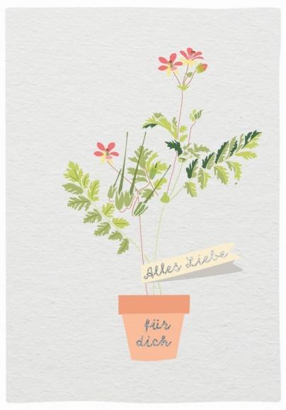 Doppelkarte: Alles Liebe für Dich. Blumentopf