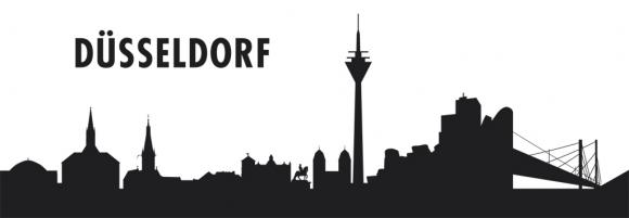 Autoaufkleber Düsseldorf Skyline schwarz