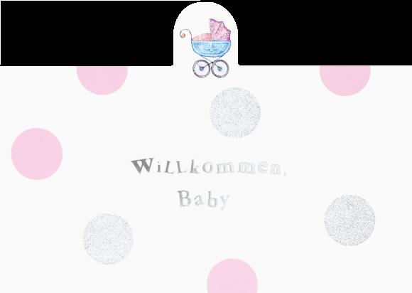 Doppelkarte: Willkommen Baby - rosa