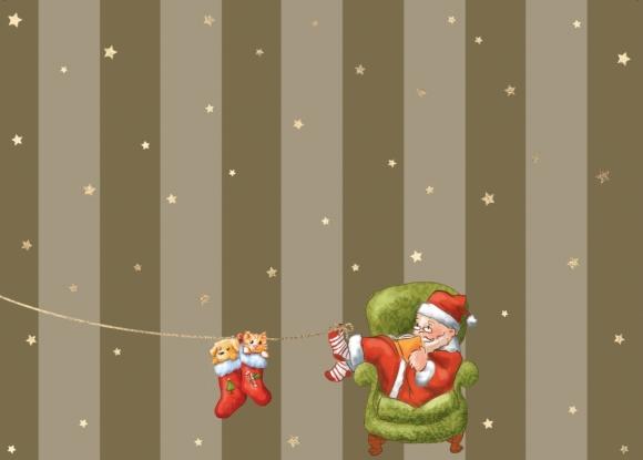 Postkarte: Weihnachtsmann mit Hund und Katze in Söckchen