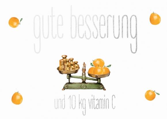 Doppelkarte: Gute Besserung mit 10 kg Vitamin C