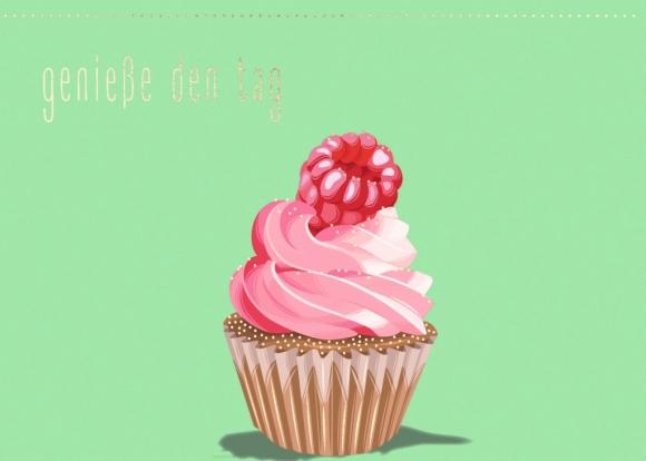 Postkarte: Cupcake, Himbeere - Genieße den Tag