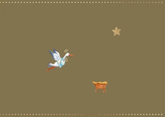 Doppelkarte: Storch und Krippe