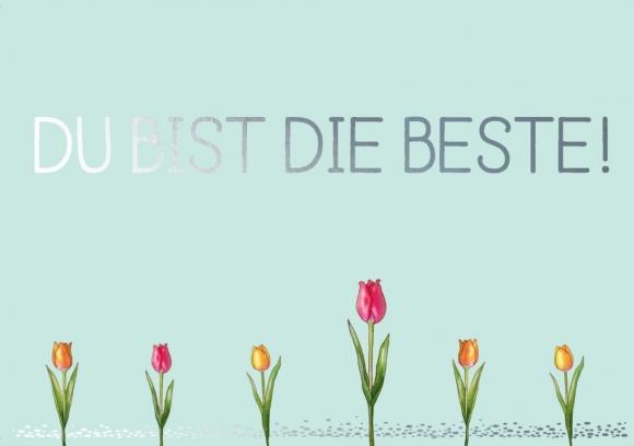 Postkarte: Du bist die Beste - Tulpe