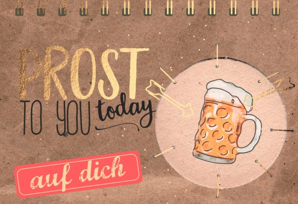 Doppelkarte: Prost to you today - Auf Dich