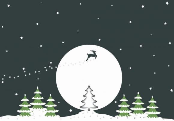 Doppelkarte: Rudolf und Baum vor Mond
