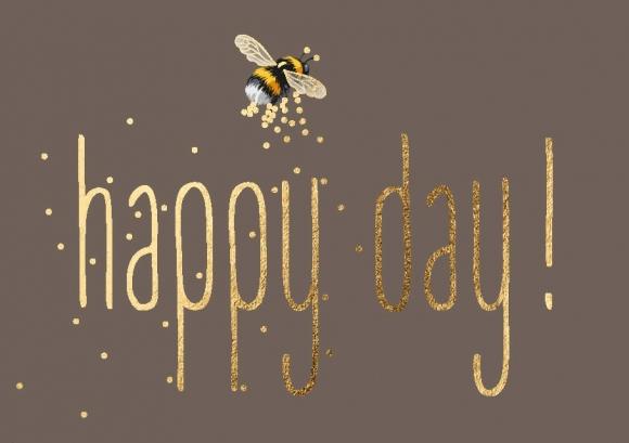 Mini-Doppelkarte: Hummel - Happy day!
