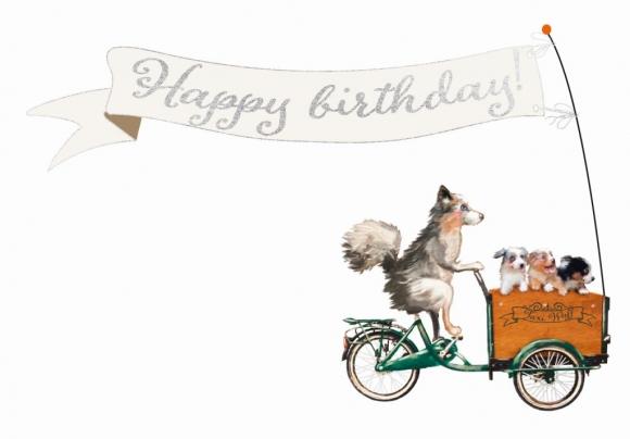 Doppelkarte: Happy Birthday - Fahrrad mit Hunden