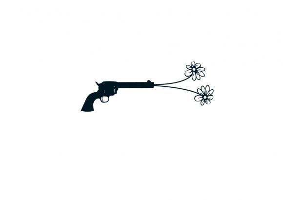 Postkarte: Pistole mit Blume