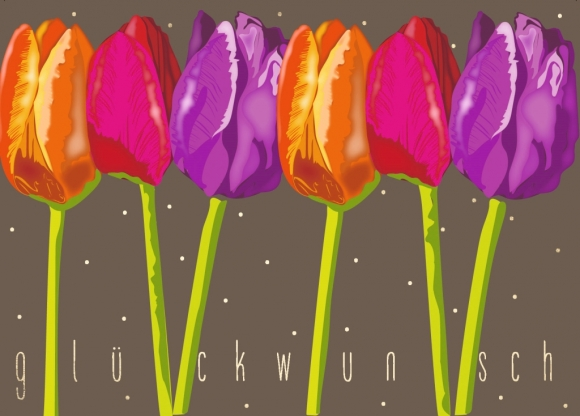 Postkarte: Tulpen - Glückwunsch