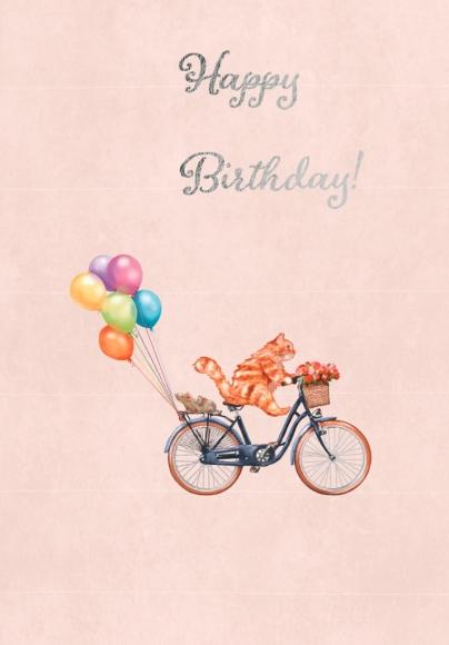 Postkarte: Katze auf Fahrrad - Happy Birthday