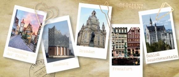 Postkarte: Germany. Hamburg - Dresden - Frankfurt ...