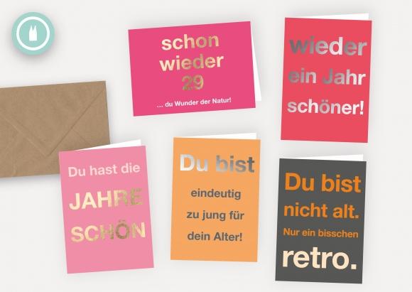 happy birthday * Set 5 Doppelkarten mit Umschlägen