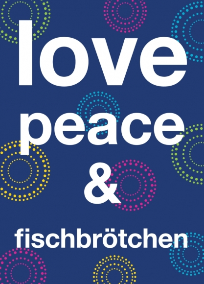 Postkarte: love, peace & fischbrötchen