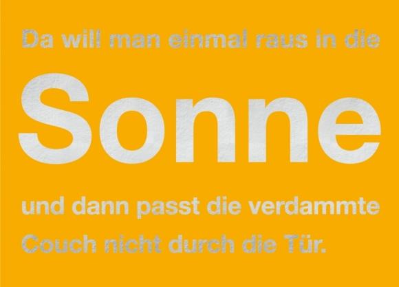 Postkarte: Da will man einmal raus in die Sonne