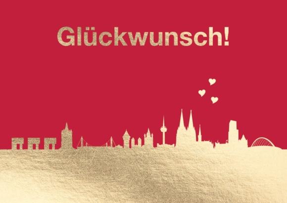Doppelkarte: Glückwunsch! (Köln-Skyline)
