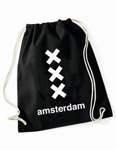 Turnbeutel Amsterdam - 3 Kreuze schwarz