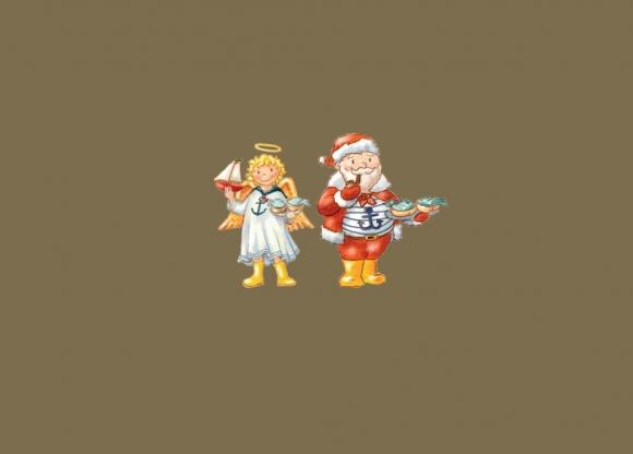 Weihnachtsgrüße Christkind.Postkarte Christkind U Weihnachtsmann Norddeutschland