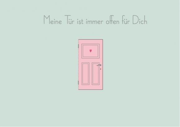 Postkarte: Meine Tür ist immer offen für Dich