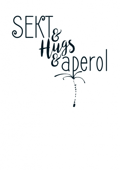 Postkarte: Sekt & Hugs & aperol